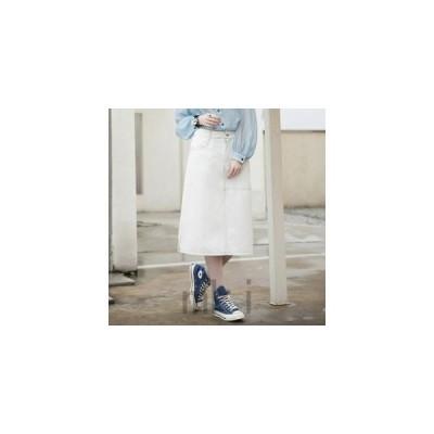 スカートレディースミモレスカートデニムスカートデニム無地お出かけカジュアルホワイトポケット付き台形スカートAラインスカート