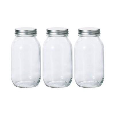 アデリア 保存瓶 ガラス クリア 925ml 銀キャップ保存びん 3個セット 日本製 : 925ml 3個セット M658004