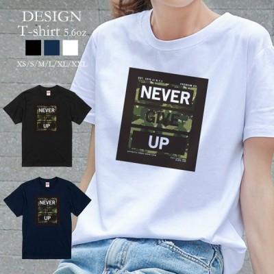Tシャツ レディース 半袖 トップス 迷彩 ロゴ NEVER GIVE UP エネミー 海外 クルーネック プリントTシャツ
