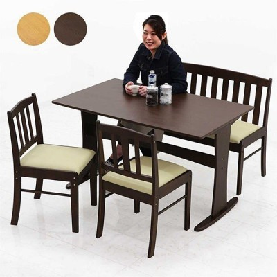 ダイニングテーブルセット 無垢材 天然木 ベンチ 北欧 4人用 4点 人気
