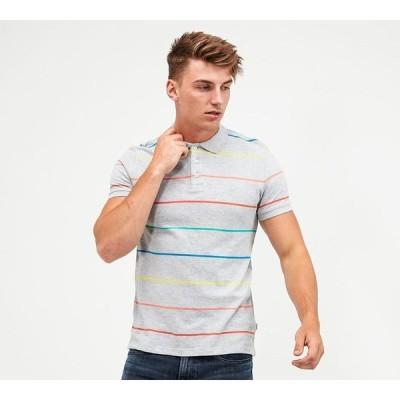 ラングラー Wrangler メンズ ポロシャツ トップス striped polo shirt Grey
