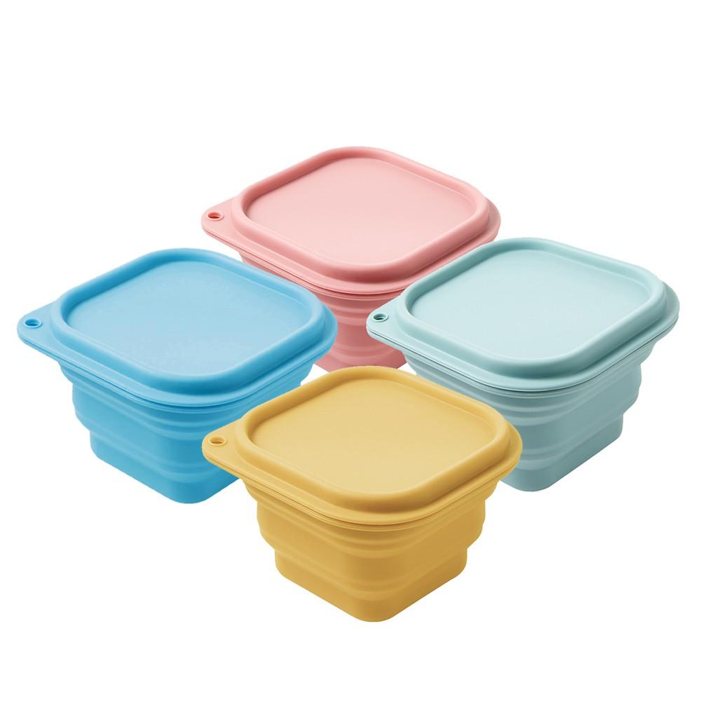 【樂扣樂扣】矽膠粉彩摺疊保鮮盒/500ml(攜帶方便、四色任選、折疊)