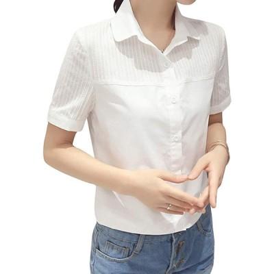 ASHERANGEL レディース 白シャツ コットン レース Yシャツ 通勤 OL 通学シャツ 長袖 お洒落 オフィス フォーマル 着痩せ 大きいサイ