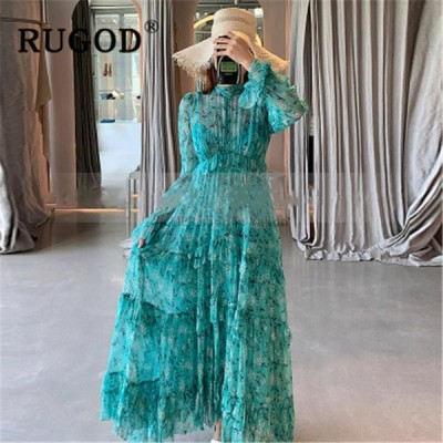 レディースファッション RUGODフリルフレア袖パーティードレス女性ボヘミアプリント女性マキシドレスvestidosファッションシフォン夏ドレス女性
