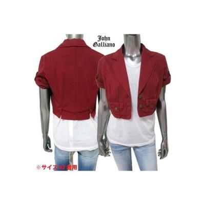 ジョンガリアーノ(JOHN GALLIANO) レディース アウター ジャケット ロゴ 裏地GALLIANOロゴ・ロゴ刻印ボタン/プレート付きショート丈ジャケット (R99800)