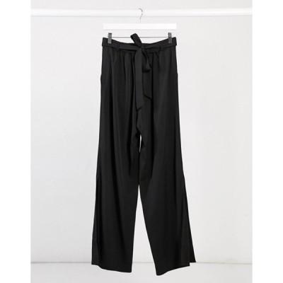 エルビ レディース カジュアルパンツ ボトムス Elvi wide leg pants with splits in black