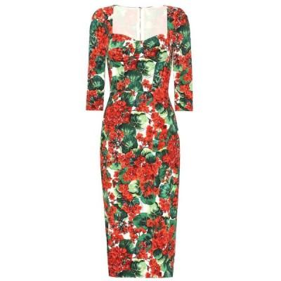 ドルチェ&ガッバーナ Dolce & Gabbana レディース ワンピース ミドル丈 ワンピース・ドレス Floral stretch crepe midi dress Gerani Fdo Bco Nat