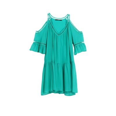 ゲス GUESS ミニワンピース&ドレス グリーン S シルク 100% ミニワンピース&ドレス