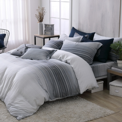 OLIVIA  亞伯特 雙人床包兩用被套四件組  300織數位印花天絲萊賽爾 台灣製