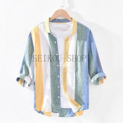 トップスカジュアルシャツ 麻100% 麻シャツ ストライプ リネンシャツ 七分袖 メンズ シャツ