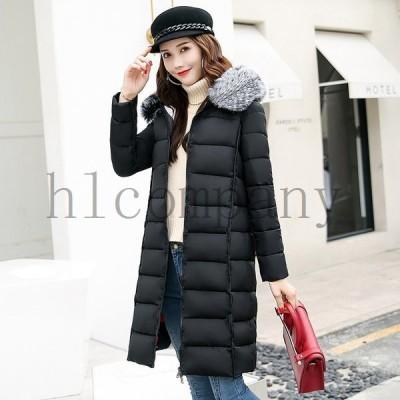 コートレディース韓國中綿コートロングコートジャケットフード付きシルエット防寒ファッション