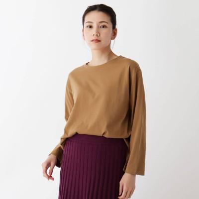 シューラルー SHOO-LA-RUE 【M-L/洗濯機で洗えて毛玉になりにくい】コットンロングTシャツ (ブラウン)
