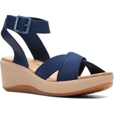 クラークス Clarks レディース サンダル・ミュール ウェッジソール シューズ・靴 Cloudsteppers Step CaliCoast Wedge Sandals Navy Canvas