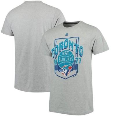 ユニセックス スポーツリーグ メジャーリーグ Toronto Blue Jays Majestic Vintage Style T-Shirt - Gray Tシャツ