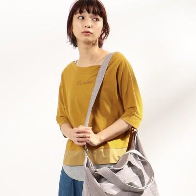 コムサイズム COMME CA ISM 【セットアイテム】 Tシャツ×タンクトップ ロゴプリント (マスタード)