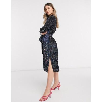 フレンチコネクション ミディドレス レディース French Connection Aubine mixed floral print shirt dress エイソス ASOS ブラック 黒