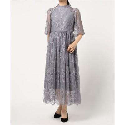 ドレス 袖付き総レースワンピースドレス