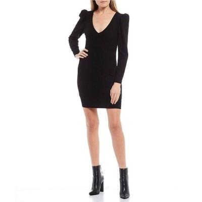 ゲス レディース ワンピース トップス Cardi Metallic Long Puff Sleeve Dress