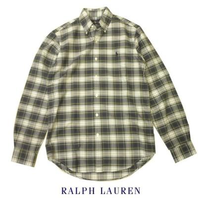 ラルフローレン オックスフォードボタンダウンチェックシャツ Ralph Lauren ビンテージ加工 長袖  メンズ XSサイズ グリーン×ネイビー×ホワイト