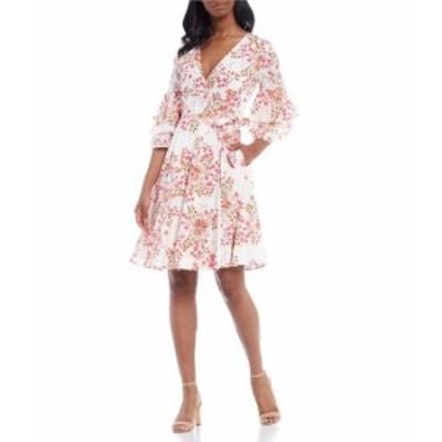 カルバンクライン レディース ワンピース トップス 3/4 Bell Sleeve Printed Cotton Wrap Dress Fire Multi
