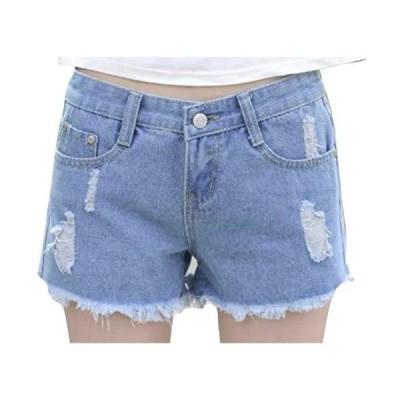 [ネストカニーナ] デニム ショート パンツ 切りっぱなし ダメージ加工 レディース ショーパン 美脚 脚長 (XL ブルー)