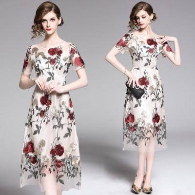 パーティードレスワンピース 花柄刺繍チュールドレス きれいめ チュールワンピース 結婚式 お呼ばれ 披露宴 20代30代 袖あり