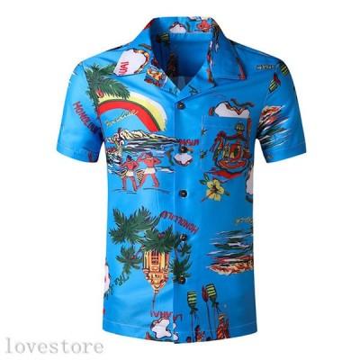 半袖 シャツ メンズ アロハシャツ 夏用 ハワイアン 男性用 総柄 ヤシの木 プリント 花柄 薄手 肌触りがいい 速乾吸汗 通気 折り襟