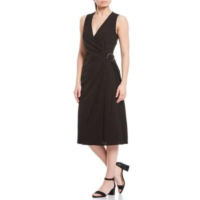 アレックスマリー レディース ワンピース トップス Maria O-Ring Belted Faux-Wrap Dress Black