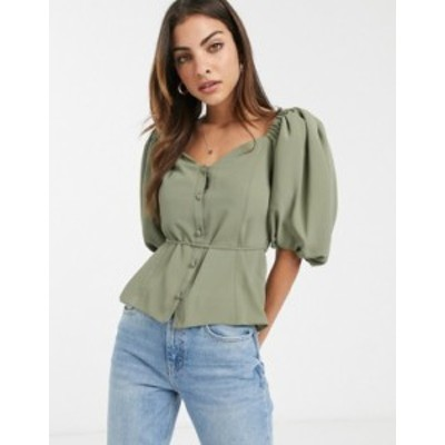 エイソス レディース シャツ トップス ASOS DESIGN button front tea blouse with puff sleeve Light khaki