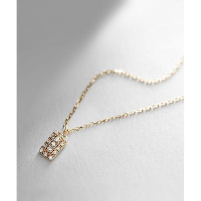 COCOSHNIK(ココシュニック) ダイヤモンド クラスター取巻き レクタングルネックレス