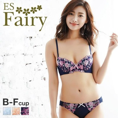 23%OFF (イーエスフェアリー)ES Fairy エレガントローズ 3/4カップ ブラジャー ショーツ セット BCDEF 大きいサイズ(1771263A)