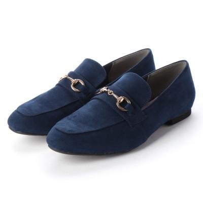 マシュガール masyugirl 【4E/幅広ゆったり・大きいサイズの靴】 スクエアトゥビット付きローファー (ネイビー) SOROTTO