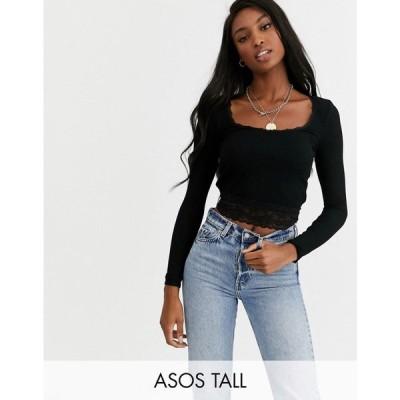 エイソス ASOS Tall レディース Tシャツ トップス Tall fitted t-shirt with lace trim ブラック