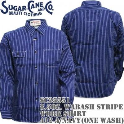 Sugar Cane シュガーケーン 8.5oz. WABASH STRIPE WORK SHIRT ウォバッシュ ストライプ ワークシャツ 412A One Wash SC25551-421A Navy