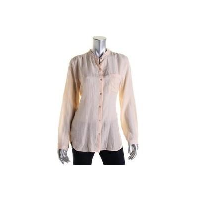 トップス&ブラウス Eileen Fisher Eileen Fisher 9769 レディース オレンジ シルク 長袖 Button-Down Top Shirt L BHFO