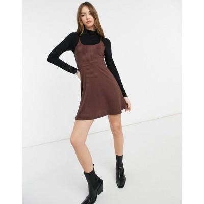 エイソス レディース ワンピース トップス ASOS DESIGN 2 in 1 mini long sleeve dress with roll neck and slip in brown and black Brown/black