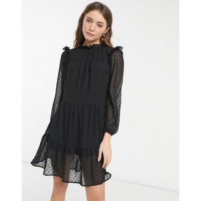 ヴァイオレット ロマンス VIOLET ROMANCE レディース ワンピース ミニ丈 ワンピース・ドレス Violet Romance mini smock dress in black ブラック