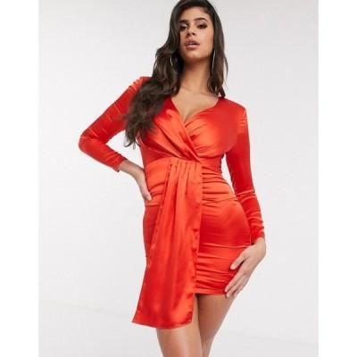 ガールコード The Girlcode レディース ワンピース ミニ丈 ワンピース・ドレス satin mini dress with drape front in red レッド