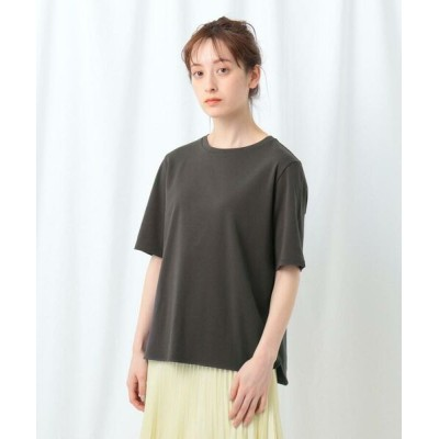 INDIVI/インディヴィ 「S」コンパクトピマ ラウンドヘムTシャツ チャコールグレー(014) 05(XXS)