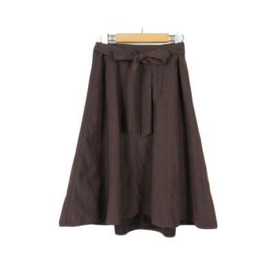 【中古】エニィスィス エニシス anySiS スカート フレア フェイクスエード リボン 4 茶 ブラウン レディース 【ベクトル 古着】