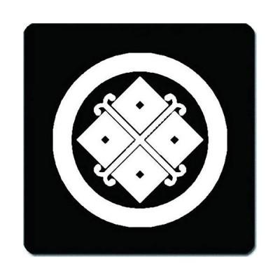 家紋 捺印マット 丸に蔓四つ目紋 11cm x 11cm KN11-0802W 白紋
