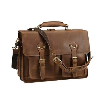 Polare 16'' Full Grain Leather Briefcase Messenger Bag Laptop Satchel For Men 並行輸入品