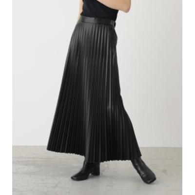【50%OFF】 ECO LEATHER PLEATS SKIRT/エコレザープリーツスカート WOMENSレディース