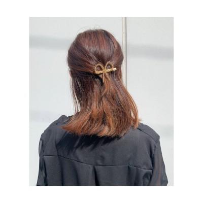 (seiheishop/セイヘイショップ)キラキラヘアピン  髪留め  ヘアアクセサリー クリスタルビーズ 前髪  オシャレ 髪飾り  パーティー飾り 蝶結び/レディース ゴールド