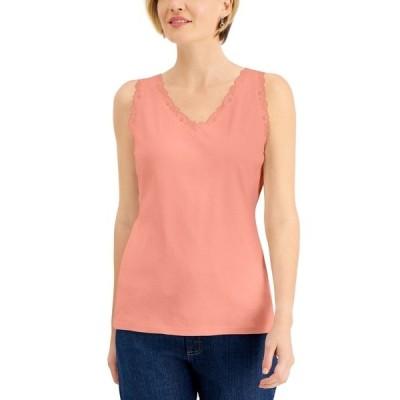 ケレンスコット カットソー トップス レディース Cotton Scalloped-Lace Tank Top, Created for Macy's Peach Cream