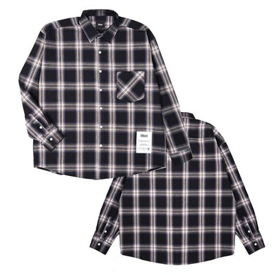 [Red Velvet IKON NCT 着用][SNSで人氣][Ellioti]  Ellioti Overfit Check Shirts_Black