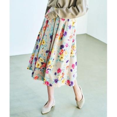 【クミキョク/組曲】 【洗える】ブーケフラワー プリントフレアスカート