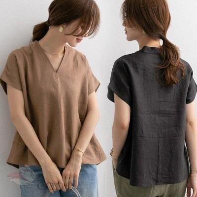 Tシャツ レディース きれいめ 40代 春夏 上品 半袖Tシャツ 無地 リネントップス 快適 オシャレ 韓国風 ゆったりブラウス 体型カバーカジュアルTシャツ