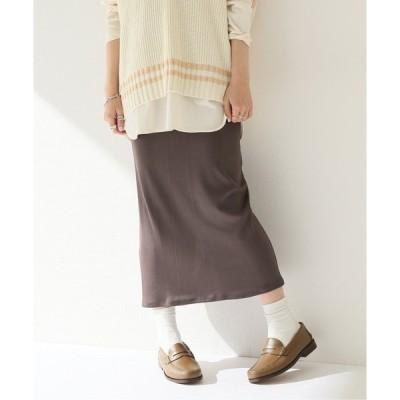 スカート グロッシーリブタイトスカート