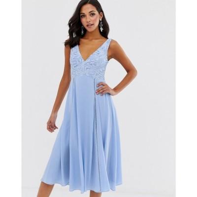 エイソス ASOS DESIGN レディース ワンピース ワンピース・ドレス midi sleeveless dress with lace bodice Cornflower blue
